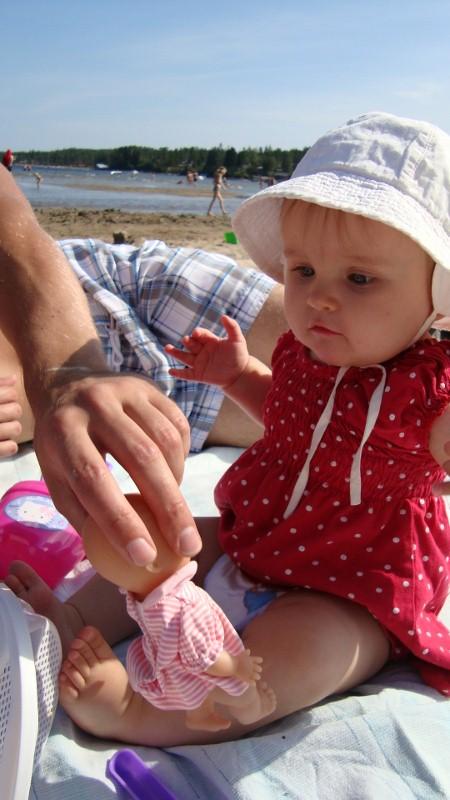 Idag åkte vi till stranden!