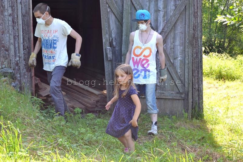 Betty 4,5 år tittade på när storebror Linus och kusin Victor städade ur logen