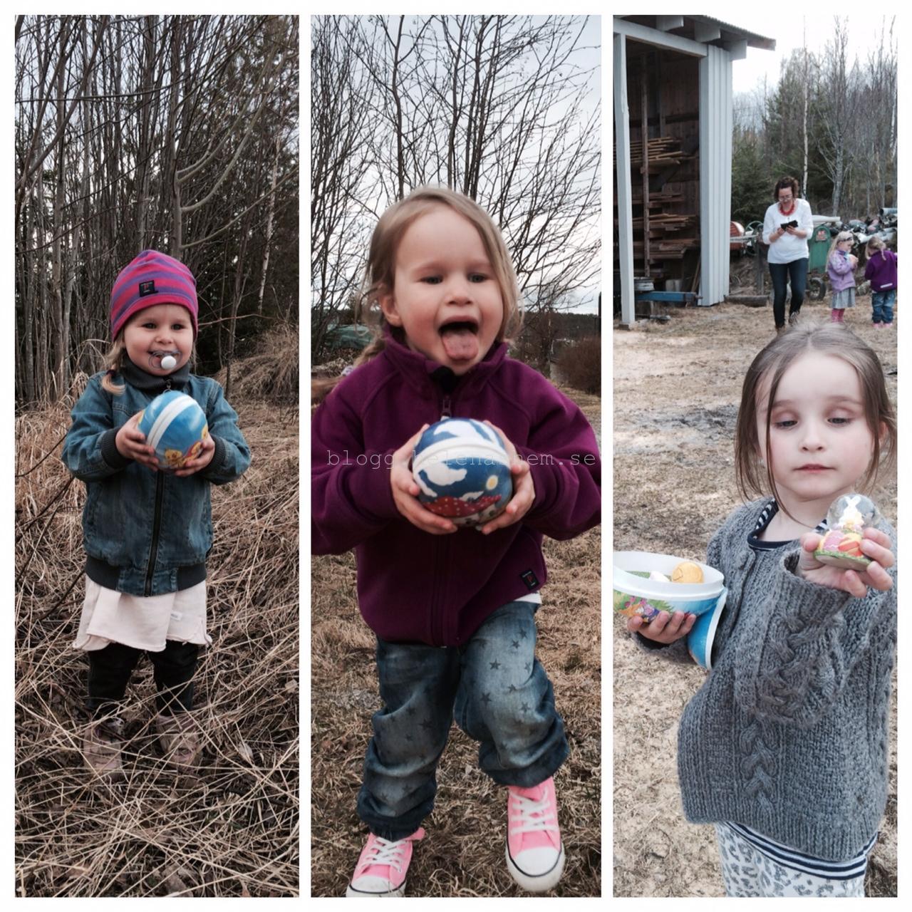 Glädjen över att hitta påskägg i skogen hos farmor och farfar