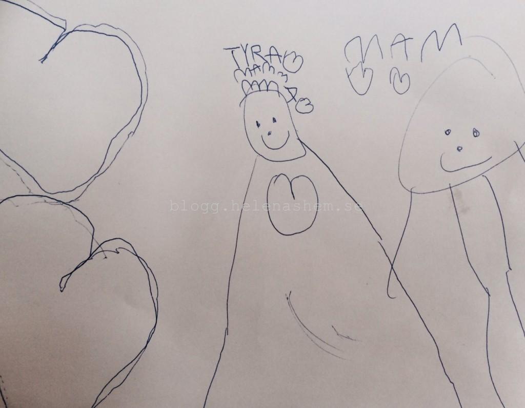 Hur glad blev man inte för de fina teckningarna som barnen gjorde när mamma sov på sjukhus?!! Tyra 4 år och 9 månader