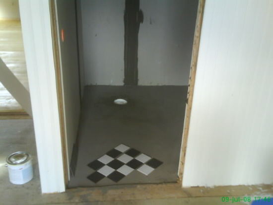 Badrum under uppbyggnad